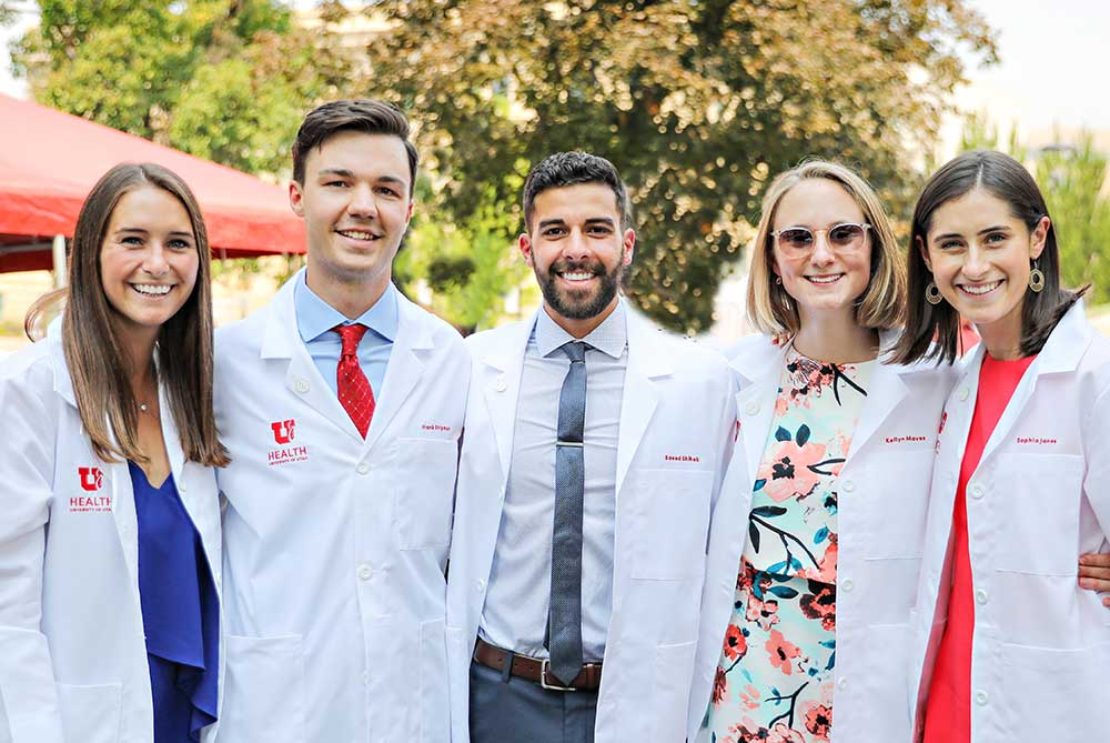 Five Rowland Hall alums don their med school white coats. Photo by Julie Shipman.